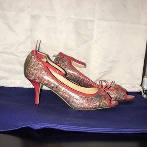 Kate spade leather tweed heels
